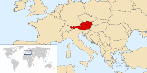 Location of Austria in Europe